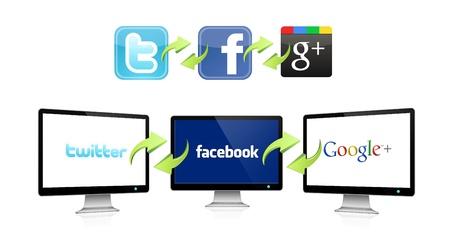 seguro social: Los logotipos de las redes sociales m�s importantes en una pantalla, conectados entre s�. Editorial