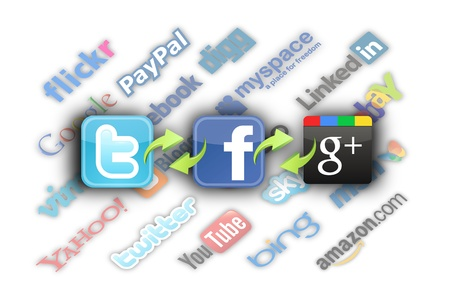 The logos of the most important social networks, connected to each other. Stock Photo - 13095574
