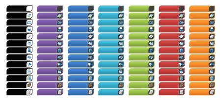 shiny buttons: Complete set of colorful business banner buttons with 3D web icons