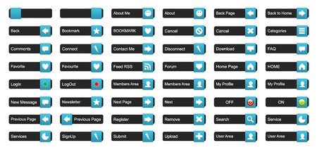 categories: Complete set of 3D buttons for website use