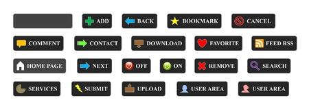 Complete set of colorful 3D buttons for website use photo