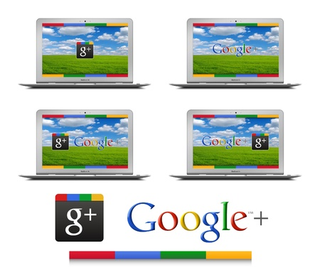 Google+, the new Social Network by Google on Apple MacBook Air Stock Photo - 13111669