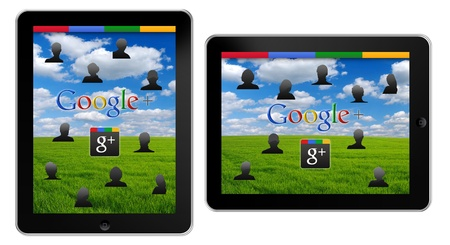 Google+, the new Social Network by Google on Apple iPad Stock Photo - 13111687