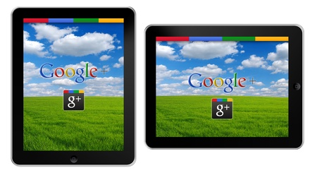 Google+, the new Social Network by Google on Apple iPad Stock Photo - 13111670