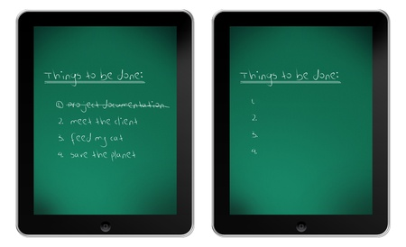 Blackboard on iPad with written list of things to be done