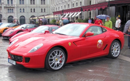 International rally of super sports cars in Trieste in 2010. Pagani Zonda, Ferrari enzo, Ferrari 599, Ford GT40.