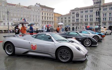 International rally of super sports cars in Trieste in 2010. Pagani Zonda, Ferrari enzo, Ferrari 599, Ford GT40.