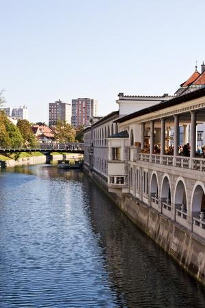 Buildings facing the river in ljubljana  photo