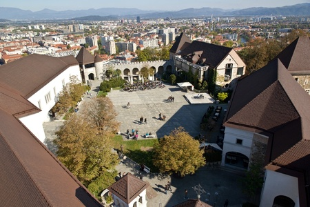 Aerial view of the interior of the castle of Ljubljana  Stock Photo