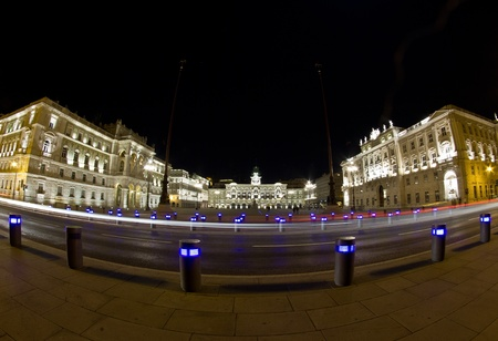 Night view of empty Piazza Unita d Italia in fisheye 180°, Trieste  Italy Stock Photo - 13193707