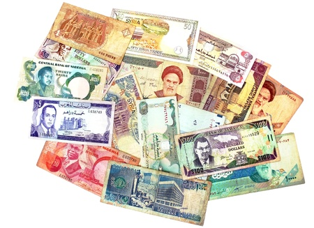 A group of banknotes from middle east