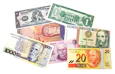 A group of banknotes from south America Stock Photo