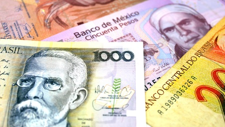 A group of banknotes from south America photo