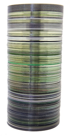 Stack of CDs and DVDs on a white background Stock Photo