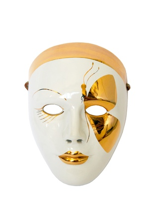 Venetian mask gold on a white background Stock Photo
