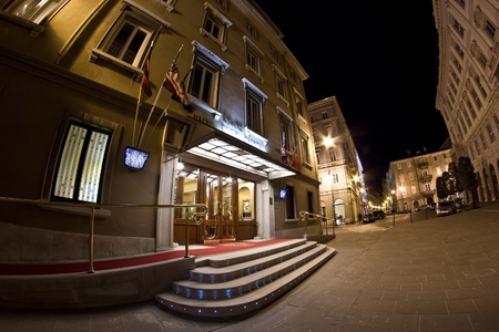 Night view of the entrance of the Grand Hotel Duchi d Stock Photo - 13182889