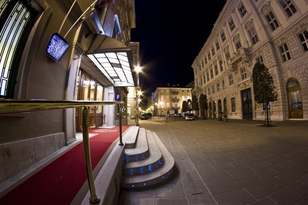 Night view of the entrance of the Grand Hotel Duchi d Stock Photo - 13182890