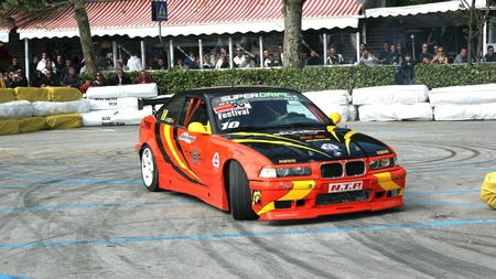 Drift exhibition of a sports car at the motor and talent show in Sistiana, Trieste Spring 2011 Editorial