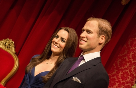 The statue of Prince William and Catherine Middleton at Madame Tussauds in London, 2012 Sajtókép