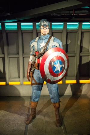 The statue of Captain America at Madame Tussauds in London