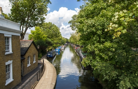 A view of a canal in Little Venice in London Stock Photo