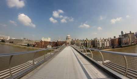 The Millennium Bridge and St Paul cathedral in london, 2012