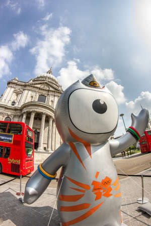 The London 2012 Olympics games mascot, Wenlock, in front of the Saint Paul's Cathedral. London 2012
