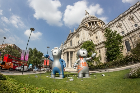 The London 2012 Olympics games mascot, Wenlock and Mandeville, in front of the Saint Pauls Cathedral. London 2012
