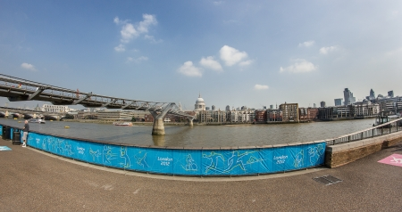 The Millennium Bridge and St Paul cathedral during London 2012 Olympics Game Stock Photo - 15102254
