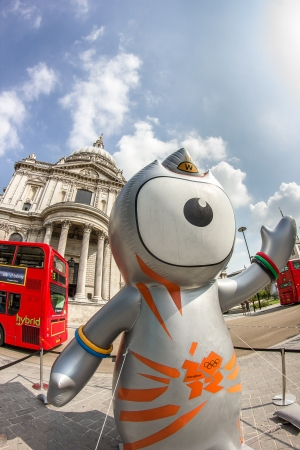 The London 2012 Olympics games mascot, Wenlock, in front of the Saint Paul