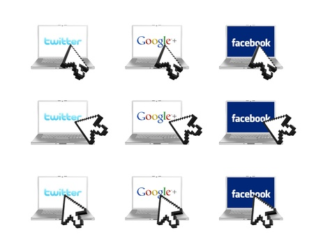The most popular social network on the display of a modern laptop with 3D arrow Stock Photo - 15347541