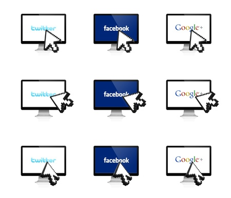The most popular social network on the display with 3D arrow Stock Photo - 15347544
