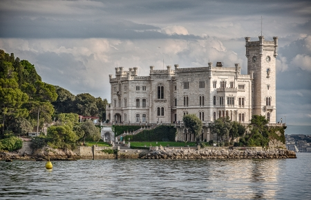 The sea side of Miramare Castle in Trieste, Italy
