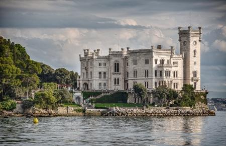 The sea side of Miramare Castle in Trieste, Italy Sajtókép