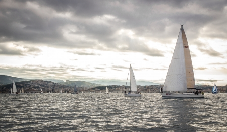 sailboat during a race in the Gulf of Trieste during Barcolana 2012