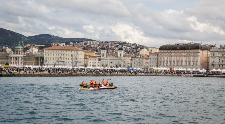 barcolana: Spectators on the pier Audace during the Barcolana 2012, Trieste. Italy Editorial