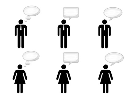 Silhouette of men and women who speak Stock Photo - 16246877