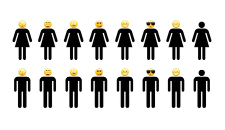 Silhouette of men and women with funny faces photo