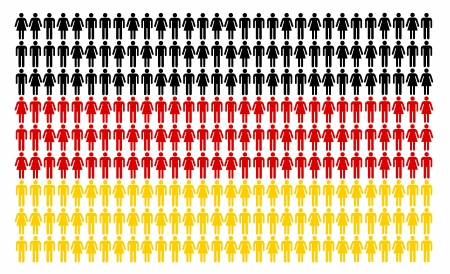 German flag built by many people