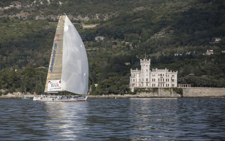 sailboat during a race in the Gulf of Trieste with Miramare castle during Barcolana 2012 Stock Photo - 16994262