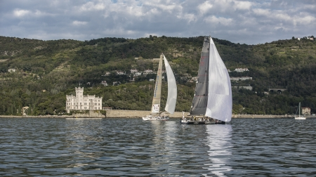 sailboats during a race in the Gulf of Trieste with Miramare castle during Barcolana 2012
