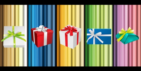 Gift items and surprises on a colored background