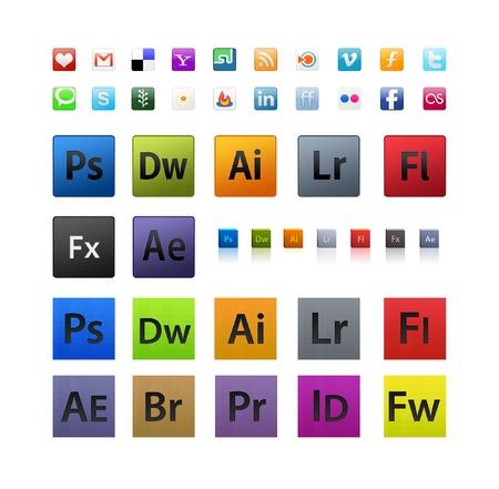 photoshop: Diverse en Adobe pictogrammen in verschillende maten