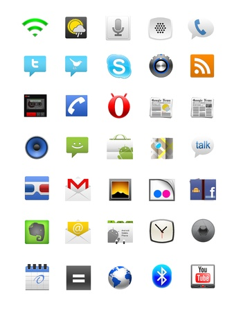 Android icon set of 35 elements on a white background