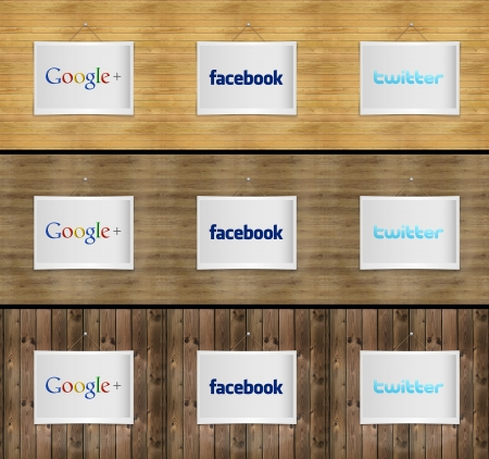 Social network on photo frame on various wooden pattern background