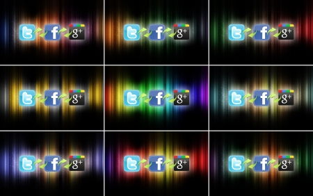 The logos of the most important social networks, connected to each other on different colored backgrounds.
