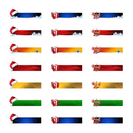 Christmas banners with colored icons, 21 elements photo