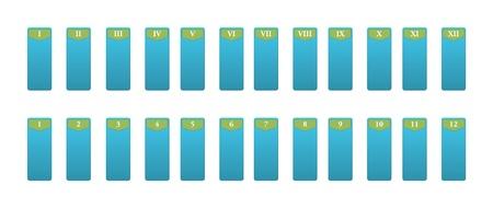 romeinse cijfers: Pictogrammen voor de nummering met Romeinse cijfers, 24 elementen Stockfoto