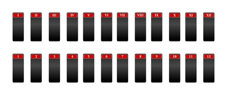 numeration: Icons for the numeration with Roman numerals, 24 elements Stock Photo