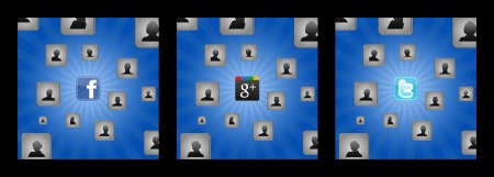 Background with cubes and user icons of men and women united by the social network Stock Photo - 18899961